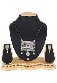 american diamond studded mangalsutra set zoom