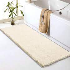 Amazon Com Chenille Bathroom Rugs Runner 59 X 20 Anti Slip Long Bath Mat Extra Soft Absorbent And Machine Washable Shaggy Chenille Noodle Bath Rugs For Bathroom Bedroom And Kitchen Ivory Home Kitchen