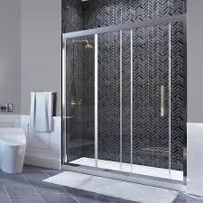 ove decors granada 58 25 in to 59 in w frameless polished chrome sliding shower