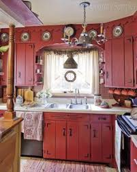 red country kitchens. Simple Country I Fell In Love With This Kitchen The Minute Saw It Latest Issue Of  Country Sampler Magazine The Red Cabinets And Gingham Check Backsplash Just  With Red Kitchens O