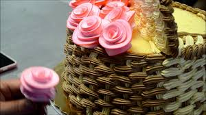 How To Make 3d Basket Of Flowers Cake Youtube