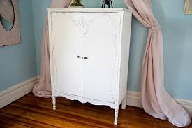 white wood wardrobe armoire shabby chic bedroom. Antique Armoire Shabby Chic White Distressed Cottage Prairie Vintage Dresser Closet Wood Wardrobe Bedroom