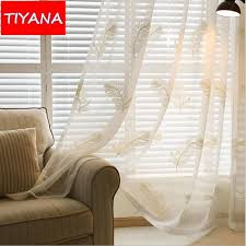 White Embroidered Feather Window Treatment Tulle Curtains Fabric For