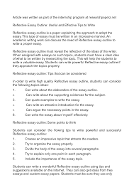 Reflective Essay Format Example Nonlogic