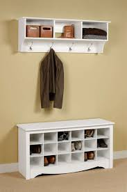 Wall Of Storage Cabinets White Wooden Painted Bench Shoe Organizer Under Wall Mount Coat