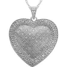 sterling silver 1 2 ctw diamond puffed heart pendant