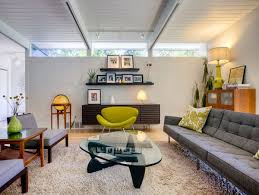 midcentury lighting. Awesome Mid Century Modern For Your Home Design Ideas: Glass Table With Furry Rug And Midcentury Lighting