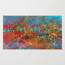 abstract painting in red turquoise yellow black rug by