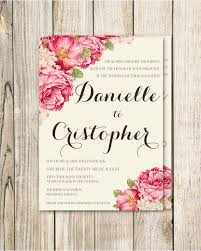 Wedding Card Template Mesmerizing Printable Wedding Invitation Set Pink Flowers By RoseBonBonShop