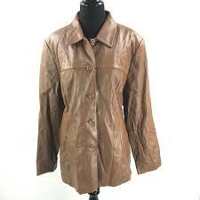 details about pendleton leather jacket womens xl brown blazer style super soft