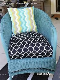 how to sew a half round seat cushion cover for my outdoor wicker chairs