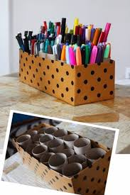 save old toilet paper rools to make a diy organizer for the desk in your room