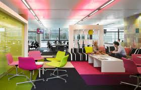 creative agency office. Colored Office Equipment With Chairs In Green And Pink-textile Floor Black Creative Agency 9
