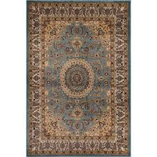 world rug gallery traditional oriental medallion design blue 5 ft x 7 ft indoor area rug 101 blue 5 3 x7 3 the home depot