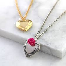 antique silver heart locket necklace with hot pink rose