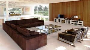 stylish living room furniture. Cushions Couches Square Arm Brown Fabric Modern Sectional Sofa With Recliner And Wood Legs Living Room Furniture Tv Cabinet Area Rug Marble Floor L Shaped Stylish