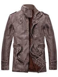 pu men s leather plus wool coat slim pu leather windbreaker thick men s long gearbest