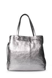 leather bag rutenio in silver metallic