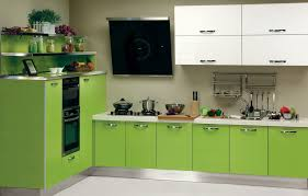 Vibrant Kitchen With Green Kitchen Cabinets Feat White Laminate ...