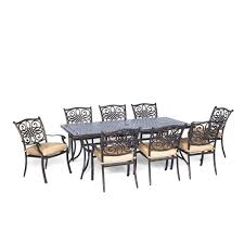 traditions 9 piece aluminium rectangular patio dining set with natural oat cushions