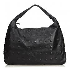 bottega veneta vintage studded leather hobo bag black leather handbag luxury high quality avvenice