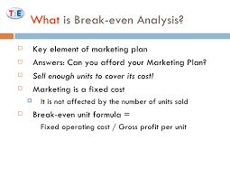 How To Make A Break Even Analysis Marketing Ii Break Even Analysis