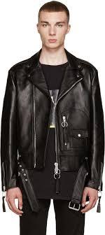 off white off white black leather new pocket jacket