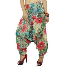 Multicolor 100 Cotton Harem Indian Women Pants Summer Floral Multi Color Print L
