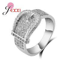 <b>Latest 925 Sterling Silver</b> Rings AAA Cubic Zircon CZ Stone Belt ...