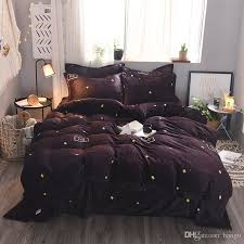 autumn winter star flannel duvet cover set queen king size bedding set warm and soft fleece bedspread pillow case bed linen black toile bedding comforter