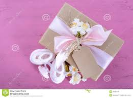 Baby Shower Its A Girl Natural Wrap Gift Stock Image - Image: 56580739