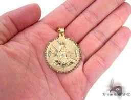 10k gold medallion pendant mens metal