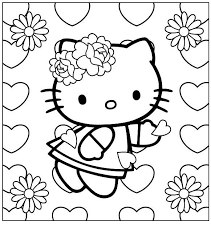 Look this awesome coloring page of hello kitty dressed as a mermaid and surrounded by beautiful flowers! I Have Download Hello Kitty Wearing A Ribbon Flower Coloring Page Hello Kitty Colouring Pages Hello Kitty Coloring Valentines Day Coloring Page
