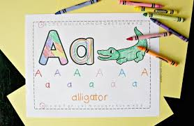 These are perfect for preschool or younger elementary children. Free Trace Color Alphabet Printables School Time Snippets