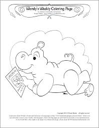 reading hippo coloring page