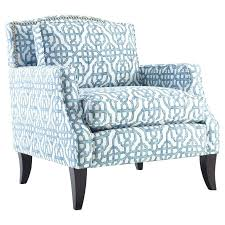 Blue Patterned Chair Simple Floral Accent Chair Living Room Decorative Print Chairs Spindle Blue