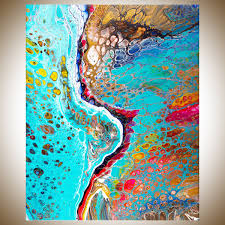 blue river by qiqigallery 16 x 20 abstract painting acrylic pour