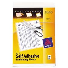 Avery Clear Self Adhesive Laminating Sheets 3 Mil 9 X 12 10
