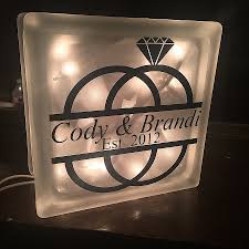 lighted glass blocks block wall luxury personalized wedding gifts rings light hi optional so of