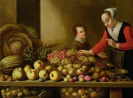 market painting girl ing gs from a large table laden with fruit and vegetables by