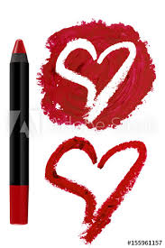 red cosmetic pencil lipstick with heart