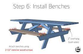 diy picnic bench plans. diy handicap accessible picnic table plans - step 6 diy bench e