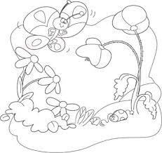 Disegni Di Primavera Prato Fiorito Con Farfalla Disegni Da Colorare