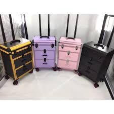 multifunction aluminum makeup trolley case with trolley and wheels