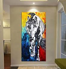 horse art canvas horse painting black horse art extra large wall art