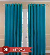 Buy Pindia Aqua Blue Polyester Solid 84x48 Inch Door Curtain Set