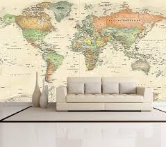 Antique Oceans <b>World</b> Political <b>Map Wall</b> Mural - Miller Projection ...