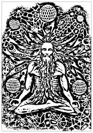 Small Picture Psychedelic monk meditation Psychedelic Coloring pages for
