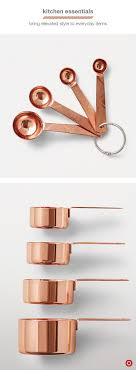 kitchen utensil: take your kitchen game up a notch for fall with copper baking tools not only does this rich metal add warmth to your home but these metallic measuring