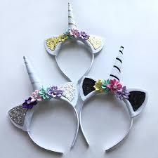 10 pcs glitter unicorn horns headbands for girls and kids 2017 felt padded unicorn headband hair accessories diy
